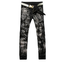 2017 new fashion straight leg jeans long men male printed denim pants cool cotton designer good quality brand trousers  MJB029