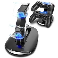 Controller Charger 4 PS4 Pro Slim Controller Charger Charging Docking Station Stand Dual USB Fast Charging Station LED Indicator
