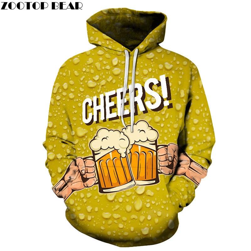 Harajuku Men's Hoodies Water Streetwear Letter beer stout Sweatshirt Brand 3d Pullover Casual Drop Ship Long Sleeve ZOOTOPBEAR