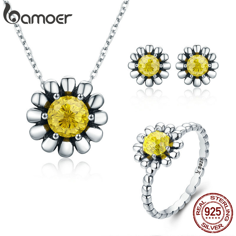 BAMOER Authentic 100% 925 Sterling Silver Daisy Flower Yellow CZ Earrings Necklace Jewelry Set Sterling Silver Jewelry ZHS048 bamoer authentic 925 sterling silver red cz evil and angel pendant necklace earrings jewelry set sterling silver jewelry zh067