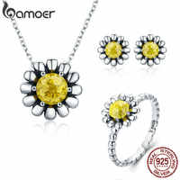 BAMOER Authentic 100% 925 Sterling Silver Daisy Flower Yellow CZ Earrings Necklace Jewelry Set Sterling Silver Jewelry ZHS048