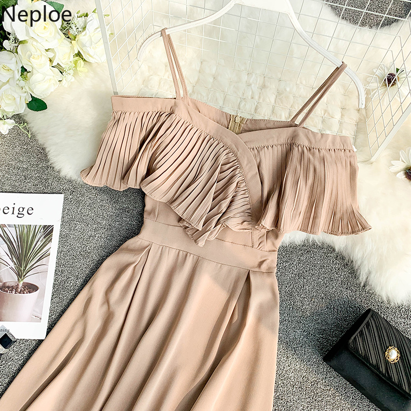 Neploe Sweet Spaghetti Strap Women Dress 2019 Solid Slash Neck Short Sleeve Vestido England Style Chiffon A-Line Robe 43088 5