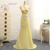 Venta caliente hvvlf Vestidos de noche 2018 una línea de un hombro gasa amarillo largo moldeado noche vestido de fiesta prom vestido