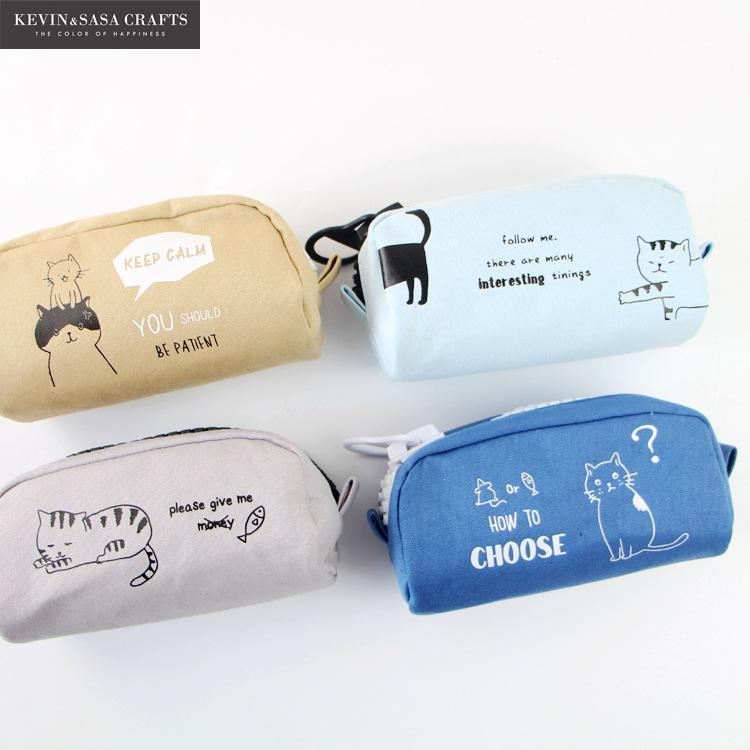 Cat Pencil Case Super Big Fabric School Supplies Bts Stationery Gift School Cute Pencil Box Pencilcase Pencil Bag School Tools minecraft pencil case for boys pencil case multifunction pencil box big capacity pencil bag school supplies bts stationery gift