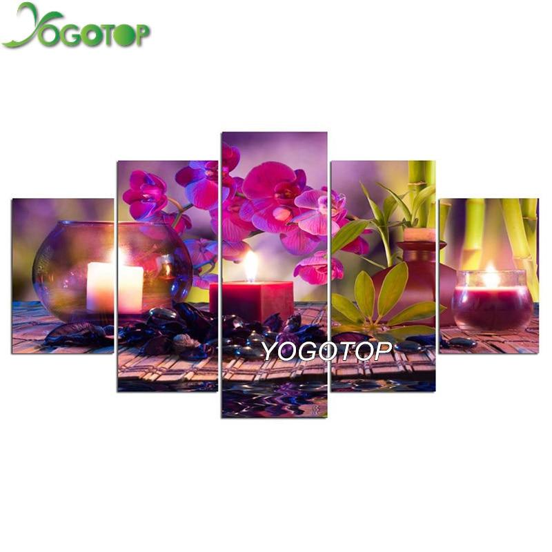 YOGOTOP DIY Diamond Painting Cross Stitch Kits Orchid candle stone Full Embroidery 5D Square Drill Mosaic Wall art 5pcs ML571