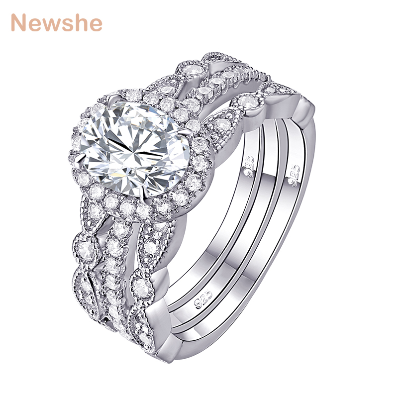 Newshe 3 Pcs Wedding Ring Set Classic Jewelry 925 Sterling Silver 1.8 Ct Oval Shape AAA CZ Engagement Rings For Women JR4669 newshe 925 sterling silver rose gold color dangle drop earrings 6 ct red rhinestone heart shape aaa cz fashion jewelry for women