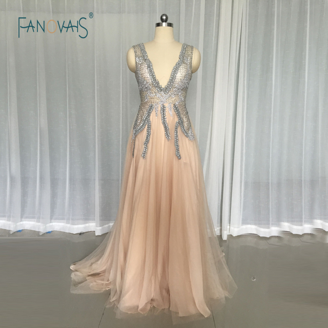 Sexy Deep V-Neck Evening Dresses Long with Slit Crystal Beaded Top A-Line  Tulle Champagne Prom Dress 2017 Vestido de Festa IDO12 1d7a46ea1995
