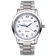 цены на Hot Sales Men's Counterclockwise Watch Fashion Reverse Analog Quartz Watch Steel Bracelet Waterproof Backwards Wrist Watch  в интернет-магазинах
