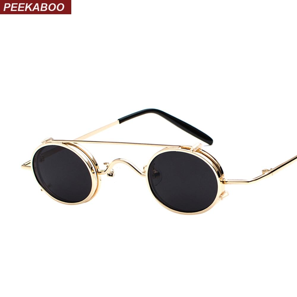 33816edf2 Peekaboo pequeno oval óculos de sol mulheres retro vintage 2018 de metal  moldura de prata de ouro do punk preto clip sobre óculos de sol para homens  ...