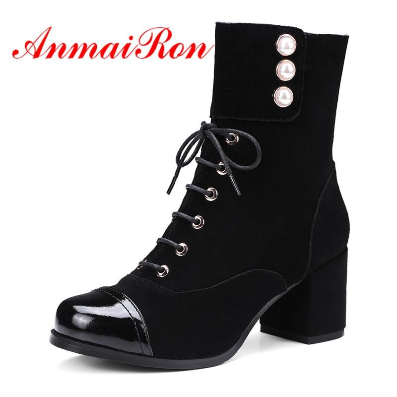 Bottines 39 Cr737 34 Hauts khaki Bout Mode Épais Femmes Perle Femme Arrondi Chaussures D'hiver Black Taille Suede Anmairon Bottes Talons De qwUtv