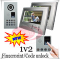 1V2 Luxurious Fingerprint/Code unlock Video door phones intercom systems Waterproof(IP65) camera can put in the rain directly
