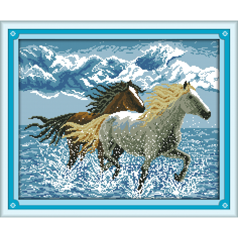 Everlasting love Running horses Chinese cross stitch kits Ecological cotton stamped 14 11CT DIY gift wedding decoration for homeEverlasting love Running horses Chinese cross stitch kits Ecological cotton stamped 14 11CT DIY gift wedding decoration for home