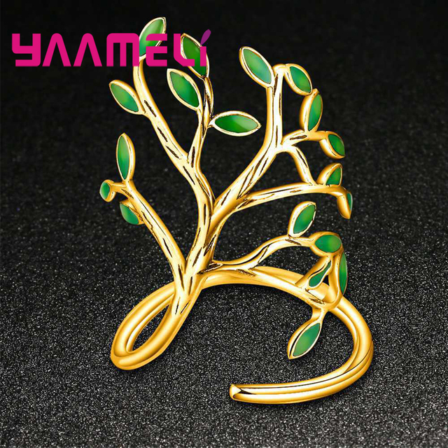YAAMELI Real 925 Sterling Silver Opening Finger Rings Special Tree Shape Design 2 Color For Women Man Cubic Zirconia Jewelry