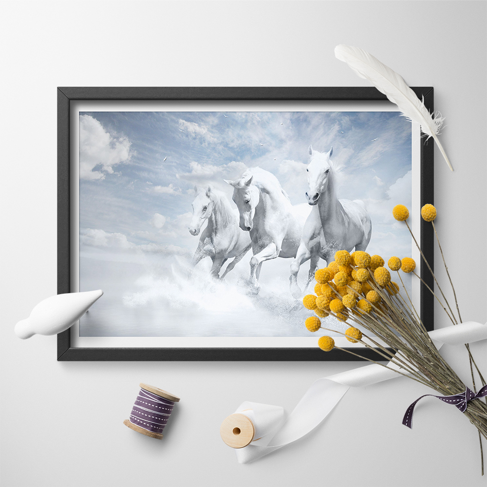 Picture Poster Animal Art White Horses Running through the Water Framed Print