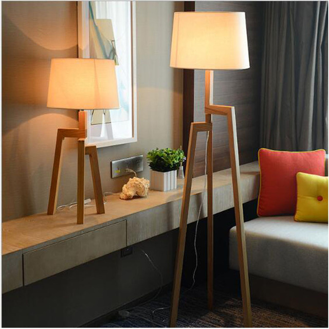 Wood Floor Lamp E26 E27 Socket Table Hotel Bedside Living Room Decoration Modern 110v 220v