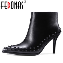 FEDONAS font b Women b font Cow font b Leather b font Ankle Boots Sexy Punk