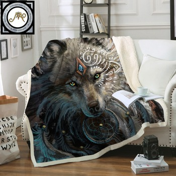 Lobo Guerreiro por SunimaArt Camas Cobertor Sherpa Fleece Throw Blanket cobertor Lençóis de Pelúcia Lobo Indiano Com Dreamcatcher
