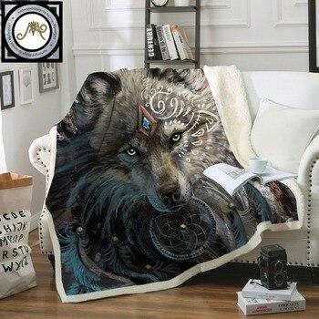 Lobo guerrero de SunimaArt camas manta Sherpa polar ropa de cama de felpa Lobo indio con atrapasueños manta de tiro cobertor