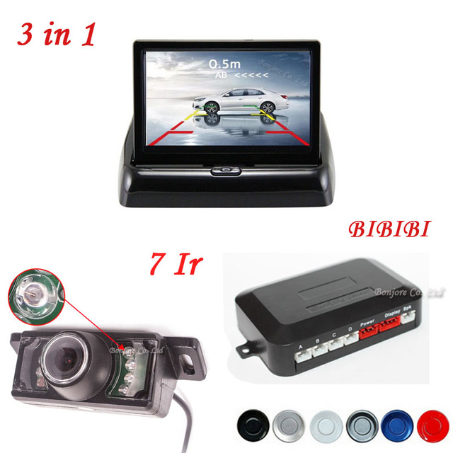 2017 Car Parking Sensor Buzzer Connect Rear view Camera Reversing Cam Distance on 4.3 Inch Foldable Screen Mirror Monitor Kit