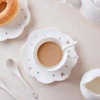 European Pure White Three Piece Set Bone China Coffee Cup Relief Tea Cups Ceramic Tea Cup