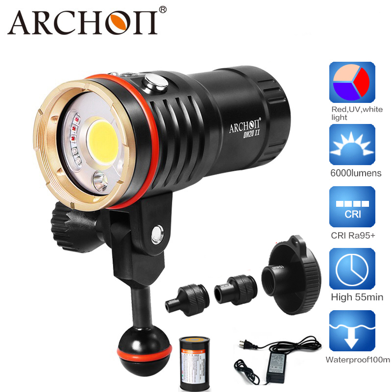 Archon DM20II/WM26II COB LED CRI95 Diving Flashlight 6000lumens Underwater Video Torch Light Scuba Photographing Equipment 100% original archon d37vp update d36vr w42vr u2 uv multifunction underwater photographing sea diving flashlight video light