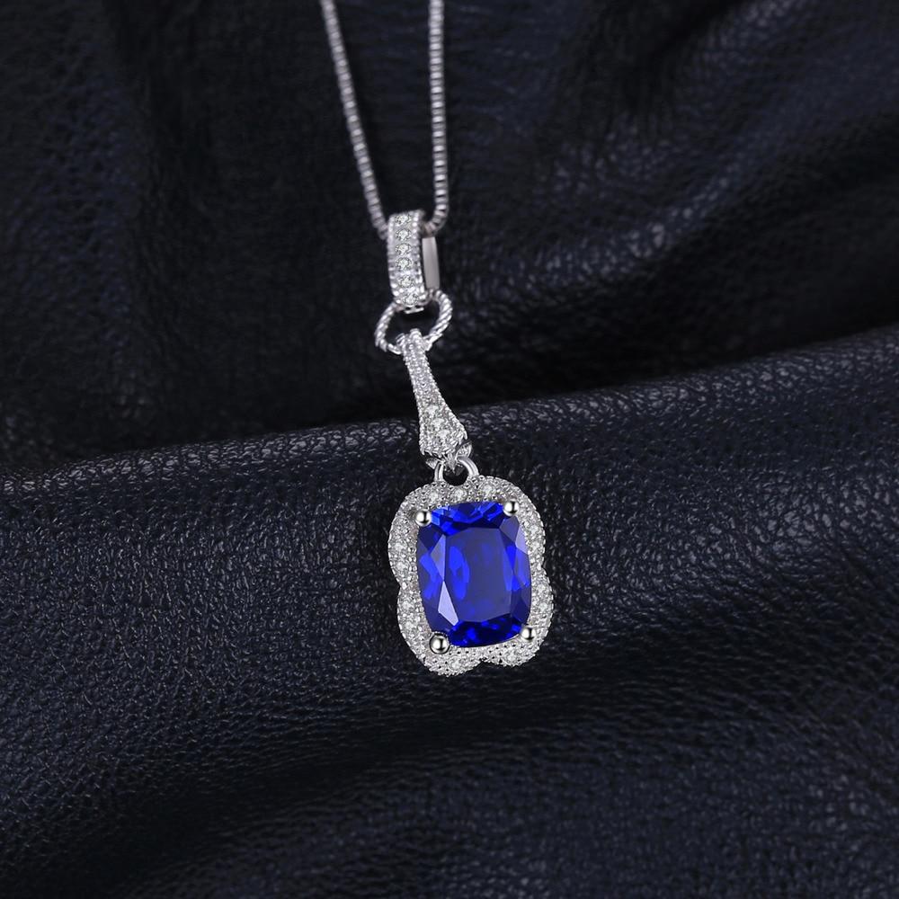 JewelryPalace Elegante rectángulo 2.9ct creado zafiro colgante 925 - Joyas - foto 2