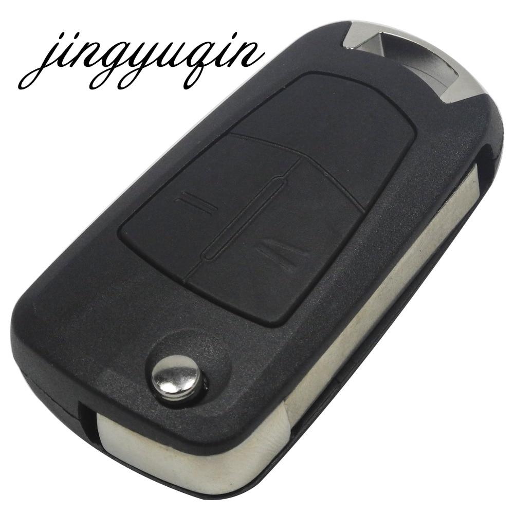 Jingyuqin 2 Buttons Flip Remote Folding Car Key Fob Case For Vauxhall Opel Corsa Astra Vectra Signum Uncut Car Key Shell