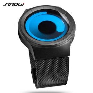 Image 3 - 2020 SINOBI メンズ腕時計トップブランドの高級スポーツ男性腕時計ファッションクォーツステンレススチールメッシュストラップレロジオ Masculino