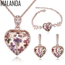 MALANDA Brand Crystal From Swarovski Fashion Heart Shape Necklaces Stud Earrings Bracelets For Women Wedding Jewelry Sets Gift(China)