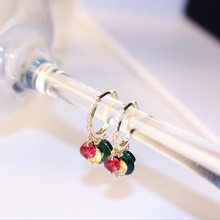 Fashion Jewelry Color Round Hoop Earrings Luxury Gold Rhinestone Earring For Women Colorful Geometric