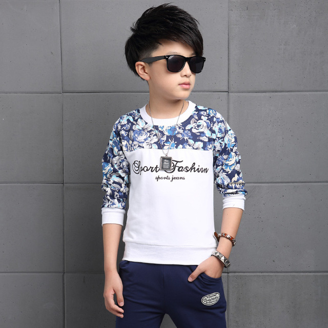 New 2017 Spring Autumn Children Sets Fashion Print Cotton O-neck Sports Clothing Boys Tracksuit Kid Clothes 2 Pieces Casual  Hot