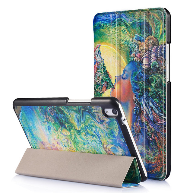 Protector de pantalla de cristal templado film + pu caso de la cubierta del soporte del cuero para huawei mediapad t2 8 pro tablet