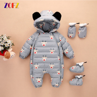 ZOFZ Baby Girls Clothes 2017 Autumn And Winter Warm Soft Down Romper Kids Print Fashion Animal