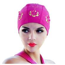 Touca de Natação Das Mulheres novas Retro Verão Flor Floral Oco Chapéu de  Banho Rosa Vermelha 07e665dedbb