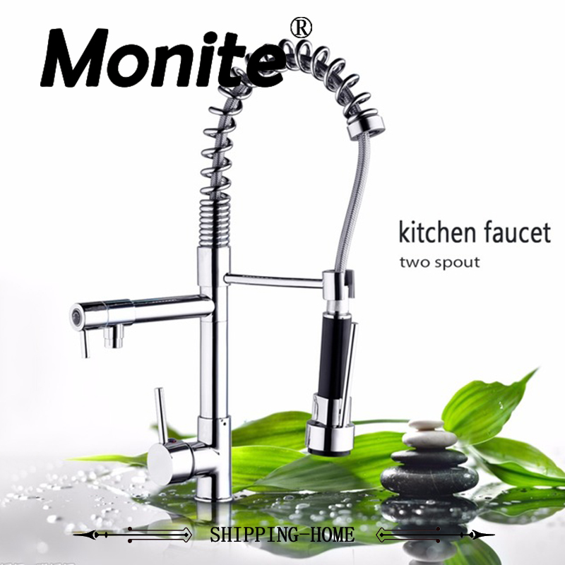 Chrome Finished Single Handle Double Spout Kitchen Faucet Deck Mounted Kitchen Vessel Sink Mixer Tap newly contemporary solid brass chrome finish arc spout kitchen vessel sink faucet thermostatic faucet mixer tap deck mounted