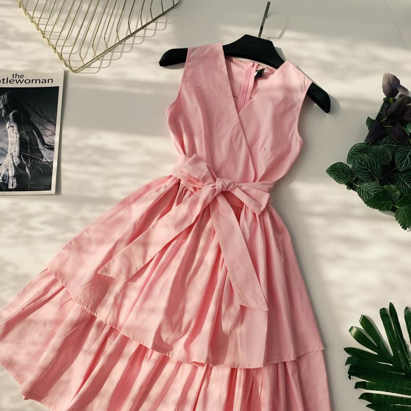 Korean Vintage Pure V Collar Sleeveless High Waist Bow Tie Double Ruffle Holiday Dress Women Vestidos E348 81