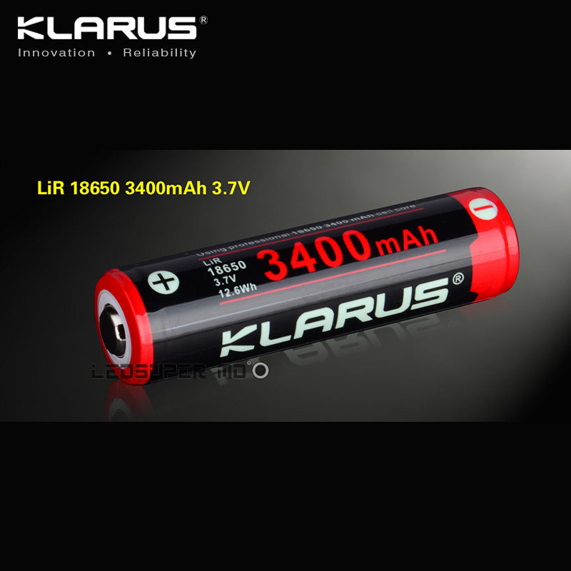 Original KLARUS Li ion Cell Rechargeable 3400mAh Battery 18650 for Portable Lighting