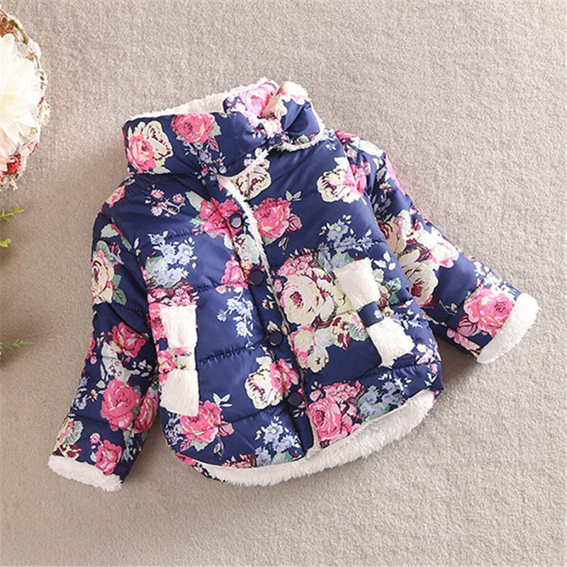 Winter Long Sleeve Girl Jacket Cotton Coat Warm Princess Children Kids Girls Floral Thick Outerwear 2-6T t100 children sweater winter wool girl child cartoon thick knitted girls cardigan warm sweater long sleeve toddler cardigan
