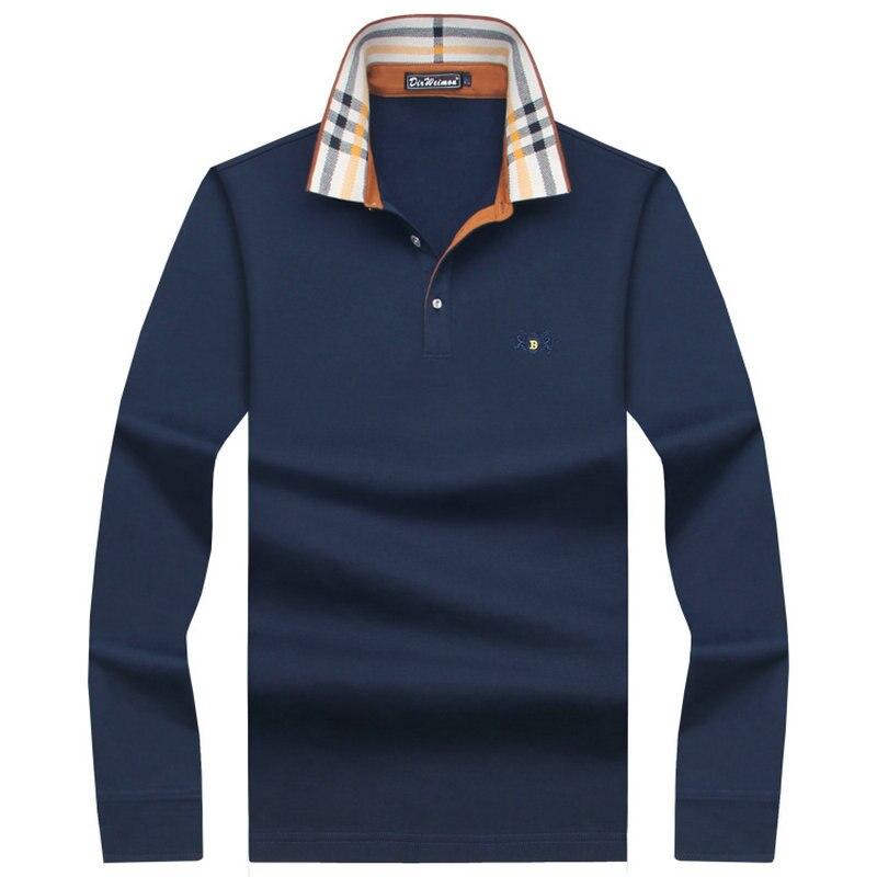 2018 Heißer Verkauf Herren British Fashion Männer Dicker Beiläufige Dünne Lange Sleeved Männer Polo Hemd Drehen-unten Kragen Herren Polo Shirts