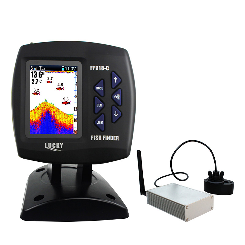 Trouveur de poisson de bateau chanceux écho sondeur FF918-CWL 300 m/980ft sans fil fonctionnant pêche sans fil télécommande bateau détecteur de poisson