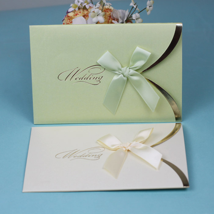 free shipping !Simple pocket wedding invitation card with ribbon bow ...