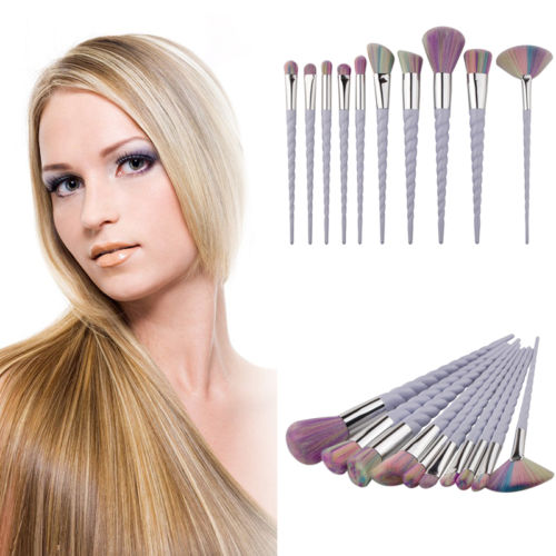product Pro10pcs Rainbow Hair Unicorn Thread Cosmetic Make Up Brushes Set Spiral Handle Foundation Eyeshadow Brush Set Brushes