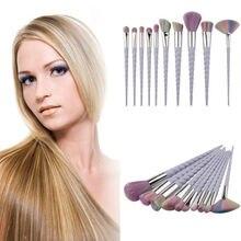 Pro10pcs Rainbow Hair Unicorn Thread Cosmetic Make Up Brushes Set Spiral Handle Foundation Eyeshadow Brush Set Brushes