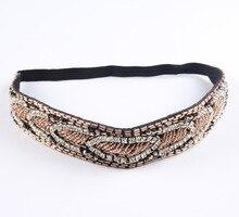 vintage bohemian ethnic tube seed beads crystal rhinestone elastic headband wedding handmade hair accessories