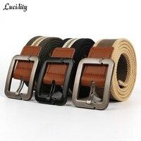 Hot 2015 Sport Men Belt Canvas Outdoor Stripe Thickened Needle Buckle Men Brown Belt Practical Men