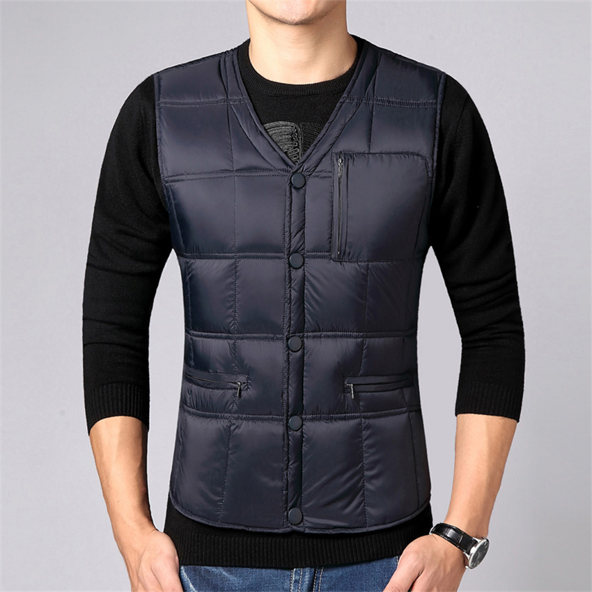 2017 New Men's   Down   Vests Jacket Autumn Winter Warm Thick White Duck   Down   Vest   Coat   Male Short Waistcoat Outwear Plus Size AB643