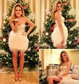 Abendkleider 2015 New Short Prom Dresses Sweetheart Feather Cocktail Dresses With Sequins Beaded Mini Dress For Party