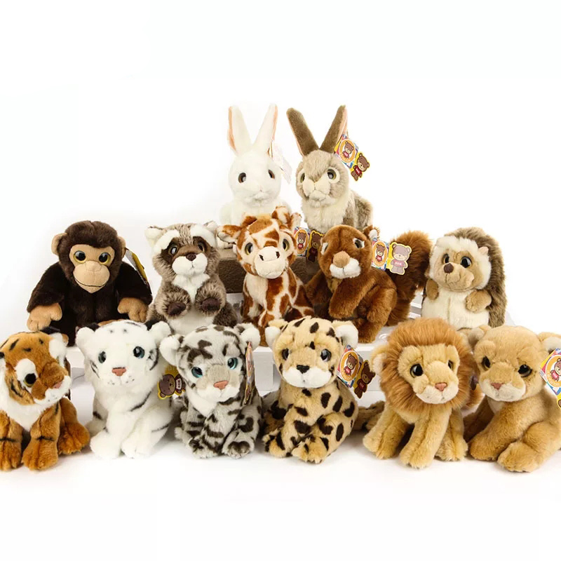 18CM Simulation Wild Animal Plush Toys Kawaii Tiger Lion Leopard Plush Doll Best Raccoon Hedgehog Stuffed Toys For Kids 3 5mm in ear stereo headphone for cell phone earbuds earphone headset for iphone ipod mp3