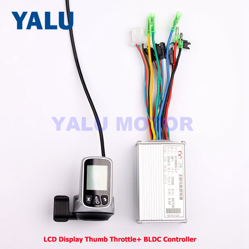 24 V/36/V48V 250 W/350 W WUXING LCD affichage pouce accélérateur avec contrôleur DC sans brosse 2 en 1 Kit pour bricolage vélo électrique Scooter