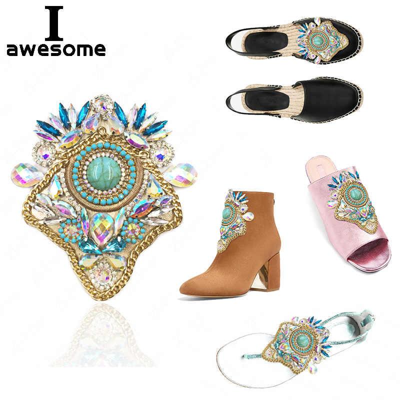 Bohem tarzı Rhinestone Gelin Düğün parti ayakkabıları Aksesuarları Yüksek Topuklu sandalet Botlar terlik Süslemeleri Siyah Beyaz